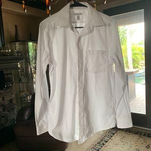 White Unisex Button Down Shirt Small